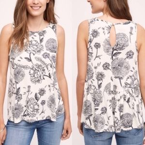 Anthro Postmark Black And White Floral Top Sz S